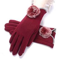Gloves female Winter Warm touch screen plus velvet thick Korean cute riding autumn and winter student gloves