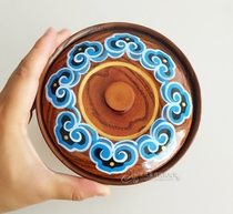 Mongolian specialty tableware hand-painted fried rice bowl Inner Mongolia specialty solid wood bowl Mongolian meal tableware