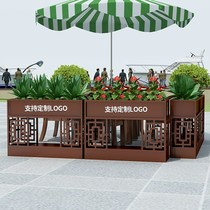 Commercial Street Plaza sales department outdoor combination flower box flower bed Green Fence cafe outside the pendulum fence flower slot