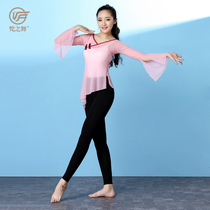 Sans Dance Chinese national classical dance practice female adult body rhyme yarn net yarn elegant dance shirt