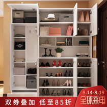 Simple modern shoe cabinet door Cabinet living room hanging clothes hat with mirror entrance cabinet door corner multi-function lockers