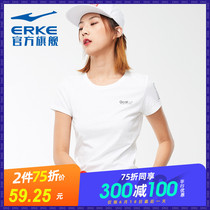Hongxing Erke female short-sleeved 2019 spring new sports and leisure wild round neck short-sleeved sweater womens shirt