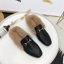 With plush single shoes female rabbit lazy mules shoes Baotou flat bottom when the trend of wearing a single shoe pedal half slippers