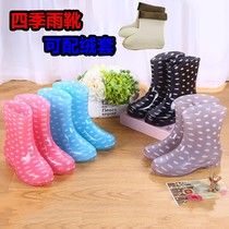 Small shoes with cashmere thickened takeout rider rain boots women plus cashmere car wash short female four seasons waterproof shoes