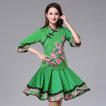 Yang Liping Square dance costume new set autumn long sleeve top aerobics sportswear team Dance skirt