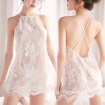 Lace hot sexy lingerie female passion set sexy Sao fun pajamas flat short Midnight Charm open skirt
