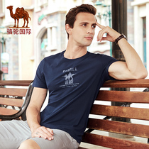 Camel men's 2019 summer new short-sleeved round neck men's half-sleeved shirt printed cotton casual T-shirt men's shirt