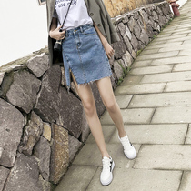 High waist denim skirt pants female a word summer 2019 paragraph was thin anti-light ins Super fire ladies package hip short skirt