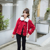 Haining 2019 new lamb wool particles wool coat sheep sheared ladies short fashion fur coat tide