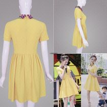 2019 Overseas Shopping Denza Star the same skirt slimming high waist yellow a dress woman