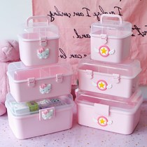 Cute pink cosmetics storage box jewelry stationery debris handbook tape stickers storage box finishing box