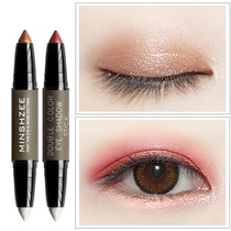 Ming Xi Chi lazy eye shadow pen double-headed eye shadow stick high light repair capacity stick two-color lying silkworm pen eye shadow plate