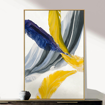 Nordic living room corridor aisle entrance entrance vertical hanging painting hand-painted oil painting abstract decorative painting mural spirit feather