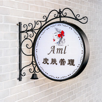 European-style LED iron round double-sided light box hanging wall nail clothing door hair light Billboard custom