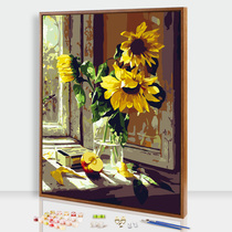 Edge color DIY digital oil painting flowers adult hand-painted filling decompression oil painting living room hand coloring decorative Painting