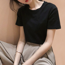 White cotton t-shirt womens tide 2019 new summer solid color slim short-sleeved fashion simple settop top female