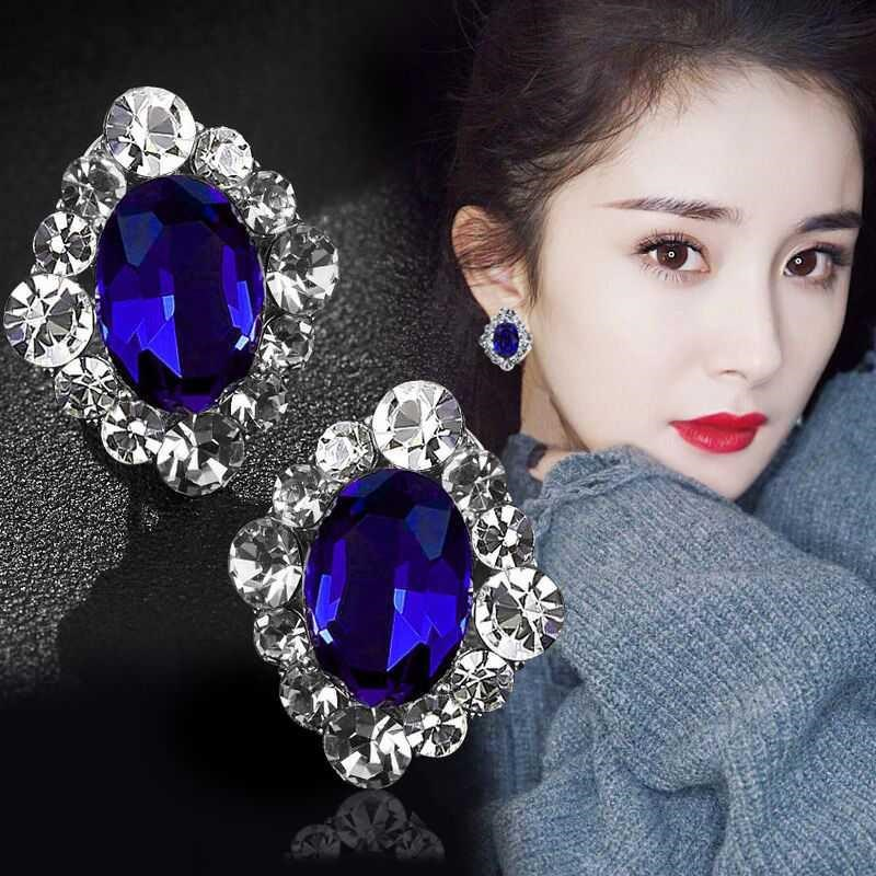 Temperament classic exotic treasure blue imitation crystal earrings womens fashion luxury atmospheric geometric diamond earrings.