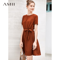 Amii minimalist youth girl holiday dress female 2019 summer new round neck wave point printing strap skirt