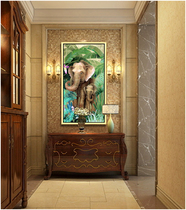Oil painting Villa hanging vertical version of the porch corridor Southeast Asia African elephant European-style decorative printing murals