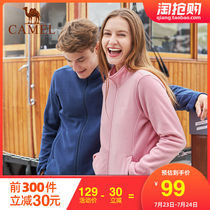 Camel outdoor 2019 new autumn and winter couple models fleece men and women cardigan fleece warm collar fleece