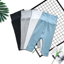 Baby baby belly pants cotton high waist spring and summer childrens waist pants 0-2-3 anti-mosquito open crotch pants