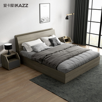 Bed modern simple high box storage storage bed bed double bed small apartment rental room economy master bedroom Nordic bed