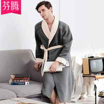 Fengteng autumn and Winter new nightgown mens knit cotton sandwich long-sleeved long section simple lace bathrobe home service pajamas