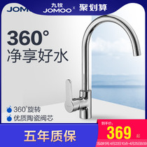 JOMOO nine animal husbandry home bathroom copper chrome hot and cold single kitchen dish Basin high curved sink faucet 3336