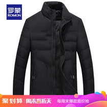 (Spike) Roman autumn and winter mens down jacket in the elderly stand collar slim thick casual warm jacket