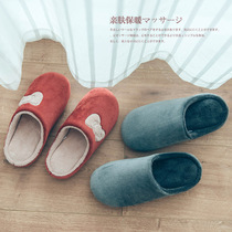 Excellent Japanese-style winter bow thick bottom cotton slippers men and women Warm Home Home indoor couple slippers
