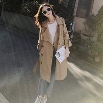 Windbreaker female long section Korean version of the wild spring and autumn 2019 new Korean version of the knee-length coat khaki jacket women