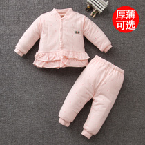 Female baby thin cotton suit autumn and winter loaded infant cotton warm newborn clothes jacket autumn and winter 1 year old