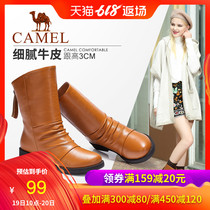 Camel womens shoes autumn and winter leather plus cashmere warm boots casual comfortable round head zipper with boots women boots