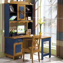 Childrens desk bookshelf combination home solid wood right corner bookcase one computer desk writing desk boy