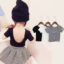 Summer dress girl short-sleeved tight T-shirt bottomed low-necked black and white solid dance baby slim