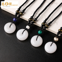 Ciyuan Pavilion open jewelry white jade peace buckle pendant pendant necklace sweater chain men and women fall holiday gifts