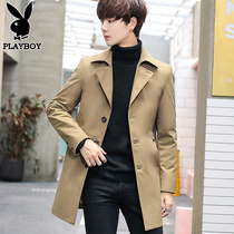 Playboy windbreaker mens long section spring and autumn Korean mens jacket trend 2019 autumn youth jacket Jacket