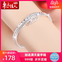 999 sterling silver bracelet female thin ring multi-ring solid silver bracelet girls hand jewelry silver jewelry birthday gift