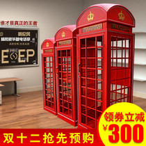 Retro Custom European retro red telephone booth large soft decoration British industrial wind decorative props model