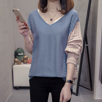 Plus fertilizer to increase womens 200 kg knit shirt womens autumn and winter hit color T-shirt fat mm loose was thin pullover