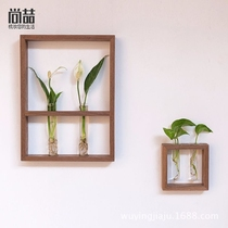 Shang Zhe home Japanese wall decoration painting hydroponic flower flower vase solid wood simple creative wall pendant