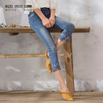 Fireworks hot summer female 2019 new pants embroidery Korean version was thin pants feet jeans red