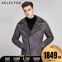 SELECTED sired sheep wool leather imitation lamb wool inside cotton clothing leather jacket male S) 419428505