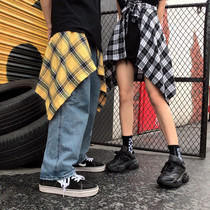 Summer fake Apron men and women hip-hop in the country lost the Department of bf hip-hop Europe and the United States Tide brand high street couple plaid waist skirt pants