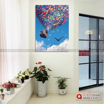 Frameless painting Hanging clock restaurant Xuan Guan bedroom cartoon flying House loop meter box decoration painting crystal wall painting