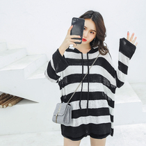 Fat mm loose hidden meat skinny hooded thin dress big code cover belly top Female 200 Jin sweater spring and Autumn