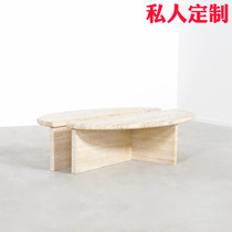 New Chinese simple natural marble coffee table creative semi-circular model designer shaped combination tea table