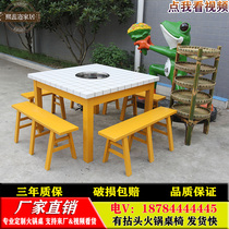 There is a twist hot pot table market hot pot table and chair suite marble string string incense tables and Chairs Restaurant induction cooker table