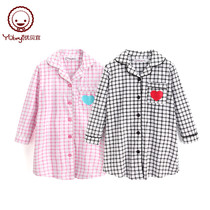 Youbei girls plaid home service nightdress childrens long-sleeved skirt baby cotton spring childrens pajamas