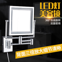 LED lamp bathroom cosmetic mirror hotel wall-mounted beauty mirror folding retractable mirror bathroom double-sided dressing mirror